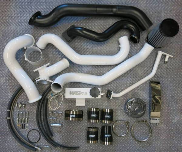 Wehrli Custom Fab - Wehrli Custom Fab | 2004.5-2005 LLY Duramax S400/Stock Twin Turbo Kit Silver Artery Two Stage Powder Coating | WCF100571-SA