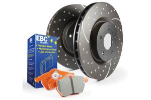 EBC Brakes GD sport rotors, wide slots for cooling to reduce temps preventing brake fade. S8KF1107