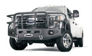 Exterior - Bumpers & Parts - Warn - Warn Direct-Fit Grille Guard With Internal Winch Mount Textured Black Steel 99396