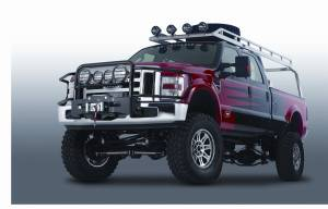 Exterior - Grille Guards & Bull Bars - Warn - Warn Tall Powder Coated Black Brush Guard Skid Plate Step Plate 85055