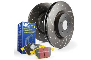 EBC Brakes GD sport rotors, wide slots for cooling to reduce temps preventing brake fade. S5KF1860
