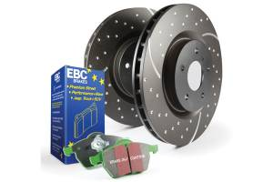 EBC Brakes GD sport rotors, wide slots for cooling to reduce temps preventing brake fade. S3KF1273