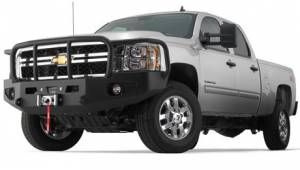 Exterior - Bumpers & Parts - Warn - Warn 1-Piece Direct-Fit Grill Guard With Winch Mount Textured Black Steel 95220