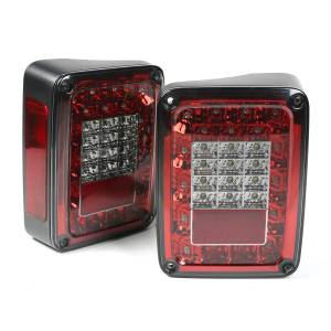 Lighting - Brake Lights - Rugged Ridge - Rugged Ridge Tail Light Kit, LED, Smoke; 07-18 Jeep Wrangler JK 12403.88