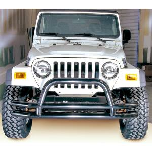 Lighting - Brake Lights - Rugged Ridge - Rugged Ridge Double Tube Bumper, Front, 3 Inch, Hoop; 76-06 Jeep CJ/Wrangler YJ/TJ 11560.01