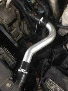 Wehrli Custom Fab | 2001-2005 LB7/LLY Duramax Upper Coolant Pipe Fluorescent Yellow Two Stage Powder Coating | WCF100860-FY