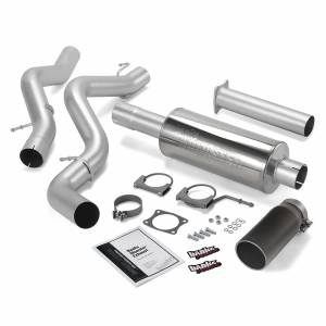 Exhaust - Exhaust Systems - Banks Power - Banks Power | Monster Exhaust System Single Exit Black Round Tip 02-05 Chevy 6.6L EC/CCLB | 48634-B
