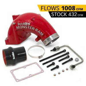 Engine Parts - Parts & Accessories - Banks Power - Banks Power | Monster-Ram Intake Elbow W/Fuel Line and Hump Hose 4 Inch Red Powder Coated 07.5-18 Dodge/Ram 2500/3500 6.7L | 42790-PC
