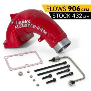 Engine Parts - Parts & Accessories - Banks Power - Banks Power | Monster-Ram Intake Elbow Kit W/Fuel Line 3.5 Inch Red Powder Coated 07.5-18 Dodge/Ram 2500/3500 6.7L | 42788-PC