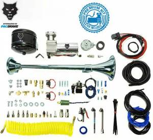 2017+ Ford 6.7L Powerstroke - Accessories - Pacbrake - Pacbrake | Premium Large Single Air Horn Kit W/Air Horn Kit (HP10234) And Onboard Air Kit (HP10163) | HP10238